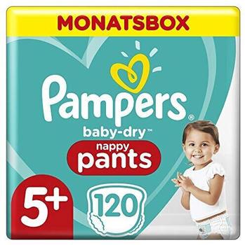 Pampers Pampers Pants Baby Dry, Größe 5+, Junior Plus, 12-17kg, Monatspack (120 St)