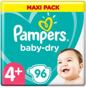 Pampers Baby-Dry Größe 4+, 96 Windeln, bis zu 12 Stunden Rundumschutz, 10-15kg