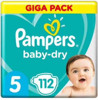 Pampers Baby-Dry Größe 5, 112 Windeln, bis zu 12 Stunden Rundumschutz, 11-16kg