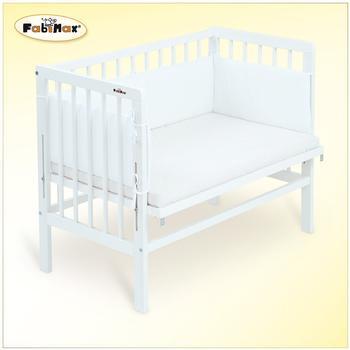 Fabimax Beistellbett Basic mit Nestchen und Matratze Comfort - weiß / Amelie weiß