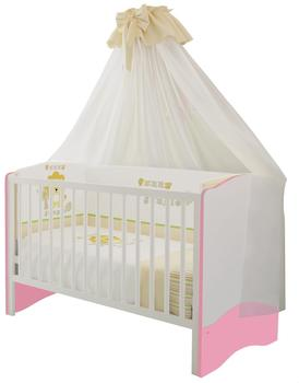 Polini Kids Simple Kombi-Kinderbett 140x70cm weiß/rosa (1176.21)