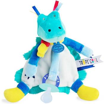 Doudou Tropicool - Crocodile cuddly toy with dummy holder