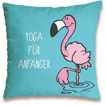 """NICI Kissen Flamingo """"Yoga für Anfänger"""" 37 x 37 cm"""