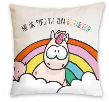 """NICI Kissen Einhorn - """"Mit dir flieg ich zum Regenbogen"""" 37 x 37 cm"""