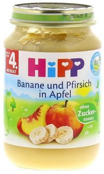 Hipp Milde Früchte Banane und Pfirsich in Apfel (190 g)