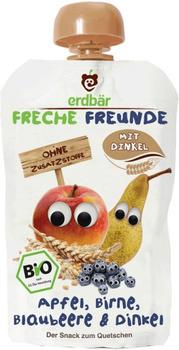 erdbär Freche Freunde zum Quetschen Apfel Birne Blaubeere & Dinkel (100 g)