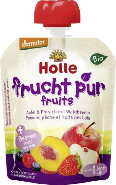 Holle Pouchy Apfel & Pfirsich mit Waldbeeren (90 g)