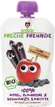 erdbär Freche Freunde zum Quetschen Apfel, Blaubeere & Schwarze Karotte (100 g)