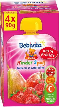 Bebivita Kinder Spaß Erdbeere in Apfel Birne (4 x 90g)