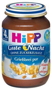 Hipp Gute Nacht, Grießbrei pur ab 4. Monat (190 g)