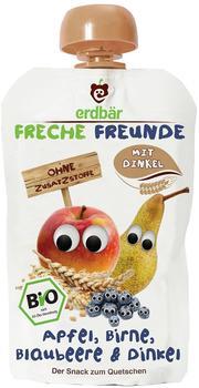 erdbär Freche Freunde Quetschmus Apfel, Birne, Blaubeere und Dinkel (6 x 100 g)