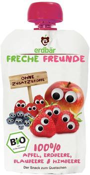 erdbär Freche Freunde 100 Prozent Apfel, Erdbeere, Blaubeere und Himbeere (6 x 100 g)