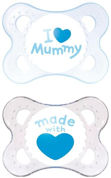 MAM Original Silikon (0 - 6 Monate) I love Mummy Boy