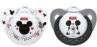 Nuk Schnuller Trendline Silikon Disney Mickey Silikon-Schnuller, kiefergerechte Form, 6-18 Monate, 2 Stück, schwarz