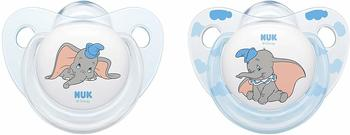 Nuk 10177115 Disney Classics Trendline Silikon-Schnuller Dumbo, 18-36 Monate, 2 Stück, blau