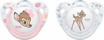 Nuk 10177114 Disney Classics Trendline Silikon-Schnuller Bambi, 18-36 Monate, 2 Stück, rosa