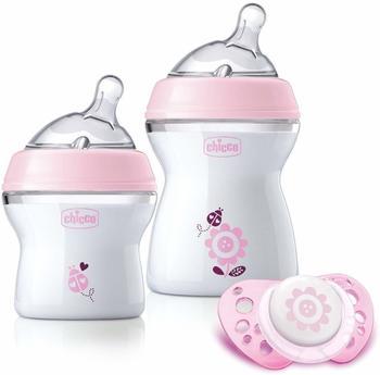 Chicco naturalfeeling–Geschenkset mit 2Flaschen Neugeborene + Schnuller 0m + rosa