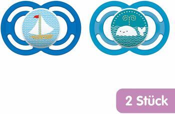 MAM Schnuller Perfect Silikon, Gr.2, blau, 2er Pack natur