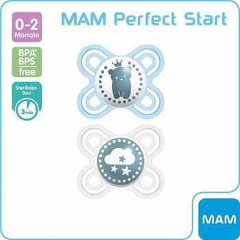 MAM Schnuller Perfect Start Silikon, Gr.0, blau/beige, 2er Pack natur