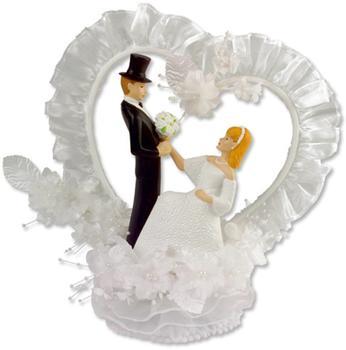 Günthart Tortenaufsatz Brautpaar mit Herzkranz