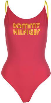 Tommy Hilfiger Retro Logo High-Cut Leg One-Piece Swimsuit laser pink (UW0UW02113TJN)