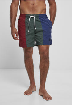 Urban Classics 3-tone Swim Shorts (TB3962-02828-0042) burgundy/bottlegreen