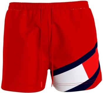 Tommy Hilfiger Colour-Blocked Slim Fit Mid Length Swim Shorts (UM0UM02048) primary red