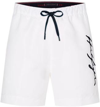 Tommy Hilfiger Signature Logo Mid Length Swim Shorts (UM0UM02060) white