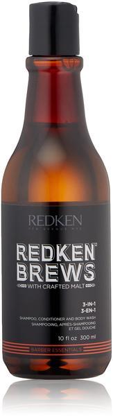 Redken Brews 3-in-1 Shampoo, Conditioner and Body Wash (300ml)
