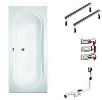 myBATH BWSET110WF Badewannen komplett Set inklusiv Acryl Rechteck Fußgestell und Über- Ablaufgarnitur, 180 x 80 cm