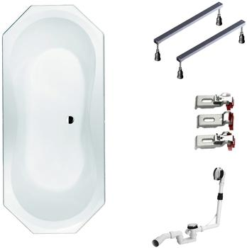 myBATH BWSET109SF Badewannen komplett Set inklusiv Acryl Achteck Fußgestell und Über- Ablaufgarnitur, 180 x 80 cm