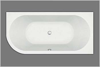 Hausmarke Badewanne Acryl eine Seite abgerundet Typ 65 links weiß 185x80cm x47cm