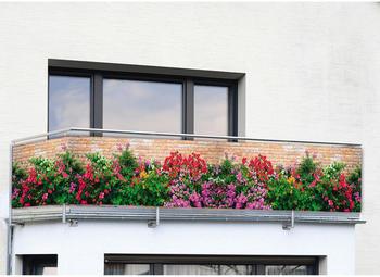 Wenko Balkon-Foto-Sichtschutz 500 x 85 cm Mauer-Blumen
