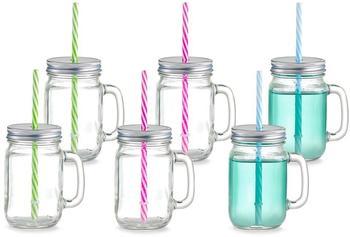 Zeller Countrystyle Trinkglas mit Henkel und Strohhalm 6er Set