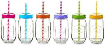 Zeller Color Lid Trinkglas mit Strohhalm 6er-Set