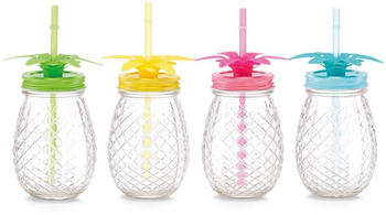 Zeller Ananas Trinkglas 500 ml mit Strohhalm 4-teilig