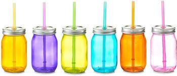 Zeller Color Trinkglas mit Strohhalm 6er Set bunt