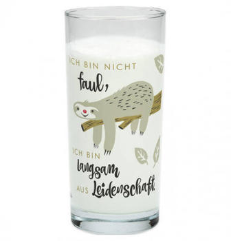 Sheepworld Trinkglas 500 ml Faultier Ich bin nicht faul