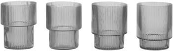 Ferm Living Ripple Trinkglas 200 ml 4er Set grau