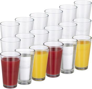 Relaxdays 18er Set Trinkgläser Wassergläser 500 ml