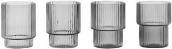 Ferm Living Ripple Trinkglas S, 4er-Set/ Rauchgrau - Rauchgrau