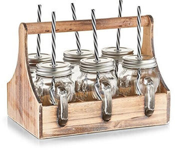 Zeller Trinkgläser-Set, 7-tlg., Glas/Metall/Holz, ca. 29 x 22,5 x 22,1 cm