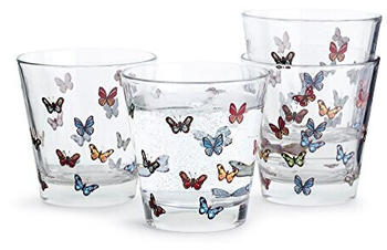 Sagaform Butterfly Glass Multicolour Trinkgläser, Glas, Bunt, 20 cl