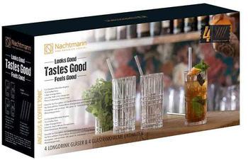 Nachtmann Tastes Good 4 Longdrinkgläser + 4 Trinkhalme + Reinigungsbürste