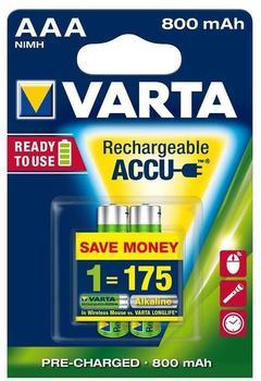 Varta AAA Longlife Accu 1,2V 800 mAh (2 St.)