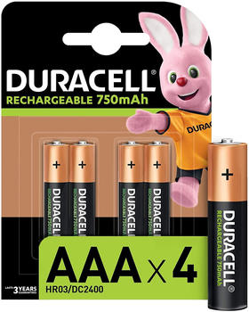 Duracell Rechargeable AAA 750 mAh Batteries, Pack of 4