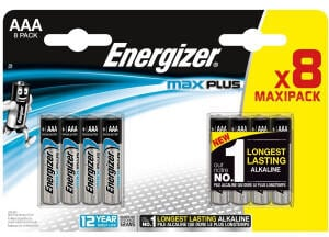 Energizer E301322500 Max Plus Micro AAA Batteries Pack of 8 Chrome
