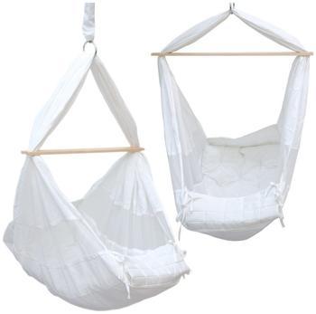 Dune Design Babyhängematte Baby-Feder-Wiege mit Spreizstab | 100% Baumwolle Naturstoff | Kinderhängematte |