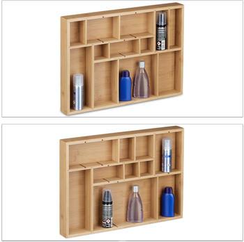 Relaxdays Schubladeneinsatz Bambus Set 2-teilig H 5 x B 45 x T 32 cm