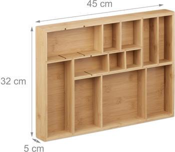 Relaxdays Schubladenorganizer Set 3-teilig Bambus natur